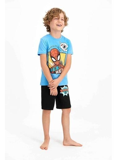 Spider-Man Spider Man Lisanslı Web Head Mavi Erkek Çocuk Bermuda Takım Mavi